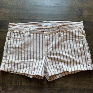Pink and navy striped loft Jean shorts